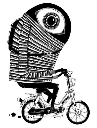 Pat Perry, Inspiration, Illustration, Mopeds Pro, Art Prints, Monsters, Big Eye, Design, Pro Art