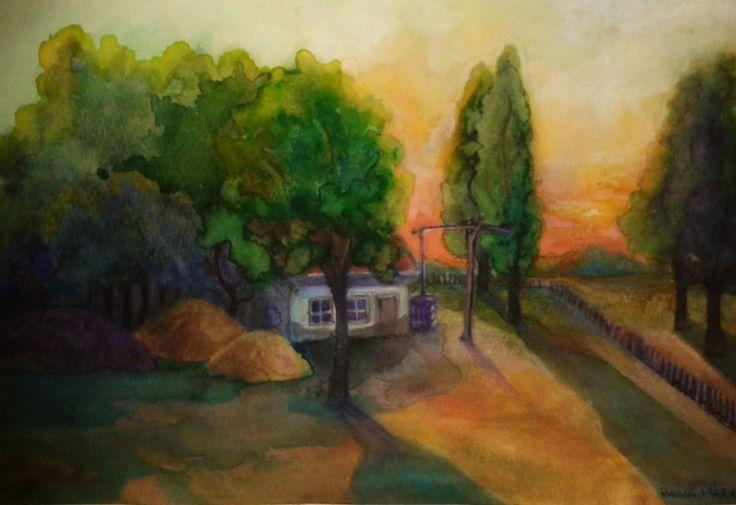 Sunset on the farm - Naplemente a tanyán - Aquarelle - 24 x 33 cm - By Márta Bolla - Hungary