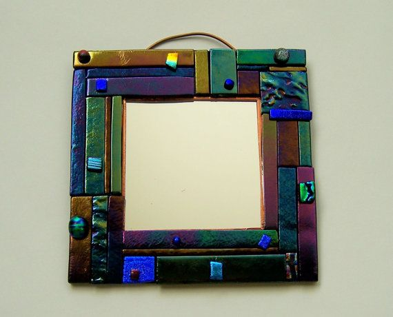 Pieces Series Fused Glass Mirror by BigSky on Etsy, $23.95