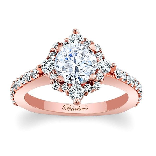 Halo Engagement Ring - 7995LPW - This unique rose gold diamond halo engagement ring features a prong set round diamond center artfully embellished with diamond melee for a twist on the traditional halo ring. The narrow shank is set with shared prong set diamonds for an elegant finish.