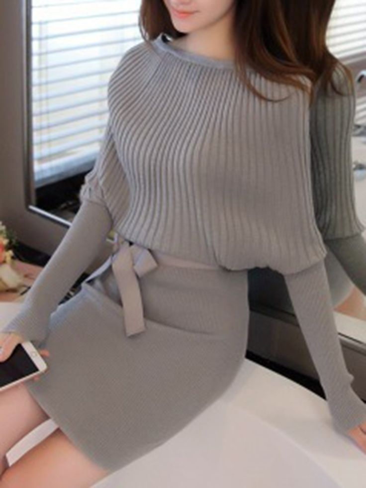 Buy Boat Neck Bowknot Plain Knitted Bodycon Dress online with cheap prices and discover fashion Bodycon Dresses at Fashionmia.com.