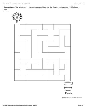 Mother's Day maze worksheet with flowers and a vase. 4 levels of difficulty. Maze changes each time you visit