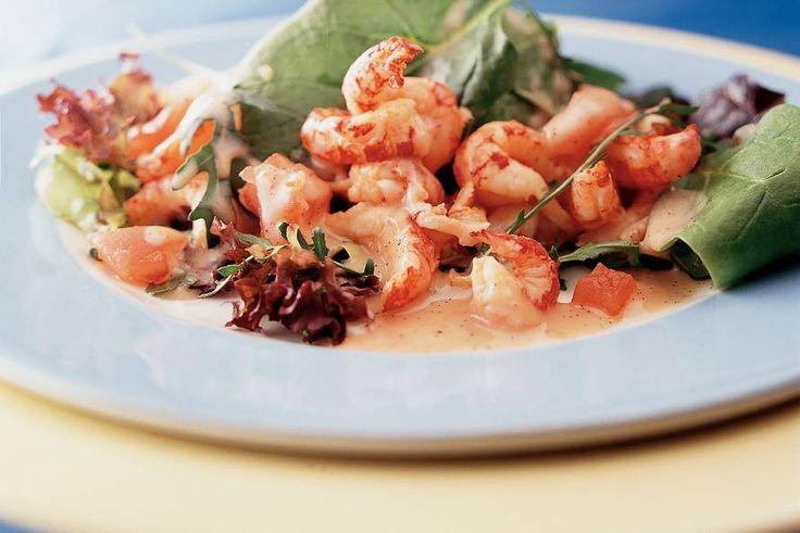 Kijk wat een lekker recept ik heb gevonden op Allerhande! Salade van rivierkreeftjes met vanille-dressing