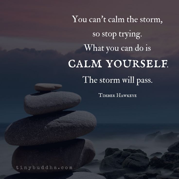 You can't calm the storm, so stop trying. What you can do is calm yourself. The storm will pass.