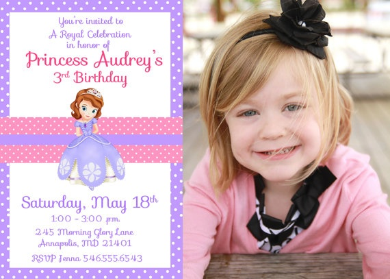 Sofia the First Birthday Party Invitation -Digital Printable File