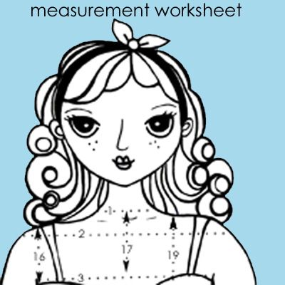 Free download: Super Cute Pattern Making Measurement Chart: Keyka Lou Patterns shares a downloadable worksheet on her blog so you can keep your measurements handy.  Just take a tape measure and fill in all the blanks with your various measurements, and you'll have all the information you need for your next garment sewing project.  And because all practial things can be made pretty, it features a super cute paper doll illustration