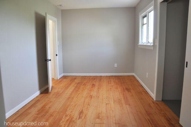 Refinished Hardwood Fir Floors + Benjamin Moore London Fog Paint