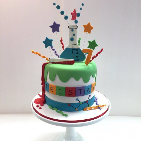 Mad scientist theme custom fondant cake by Frost It Cakery