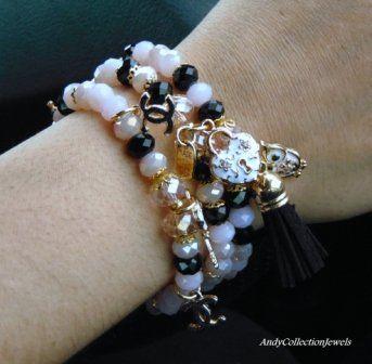Black and pink bracelet Crystal bracelet Replica chanel charm bracelet Set of 3 bracelet's Tassel charm bracelet Gift for her jewelry