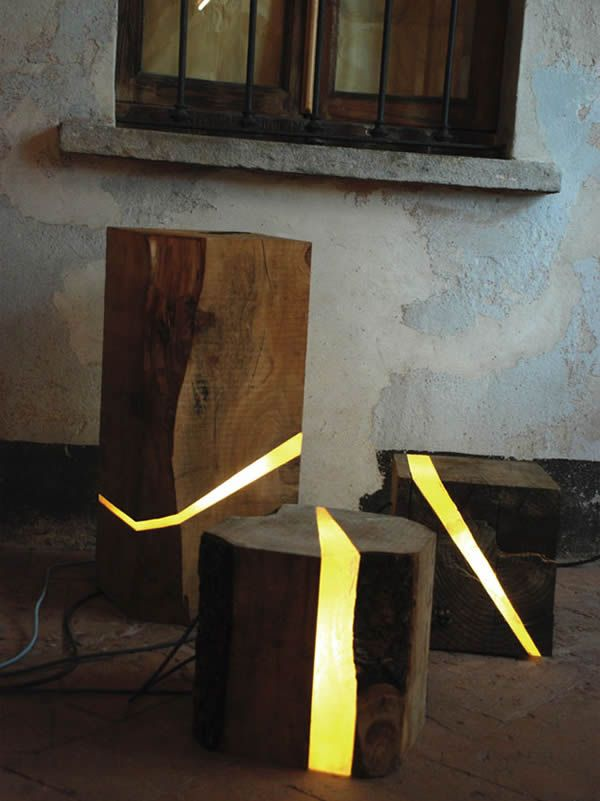 Organic Lamps made from Sawmill Waste and Tree Branches
