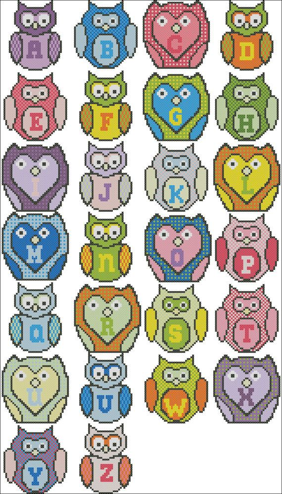 Owl Cross Stitch Alphabet Pattern