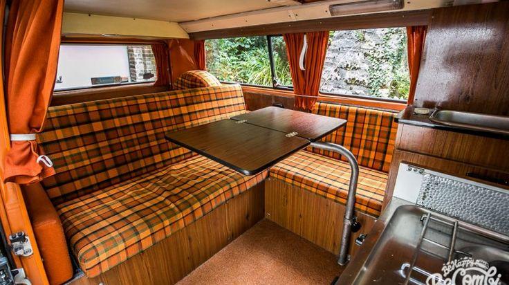 a l int rieur de notre combi westfalia 1975 t1 t2 camper conversion and vw. Black Bedroom Furniture Sets. Home Design Ideas