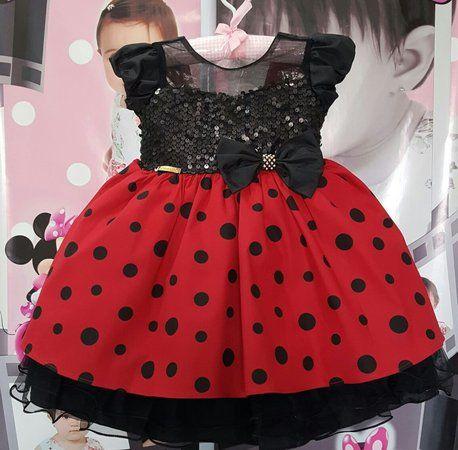 Vestido Infantil Minnie Vermelha Luxo - tam 1 ao 3