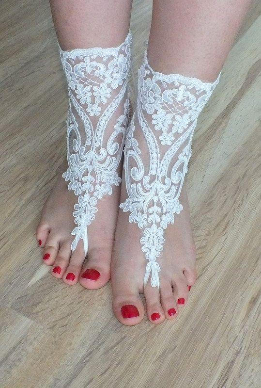 geranum tarafından gelin halhal beyaz Sahil düğün yalınayak sandalet