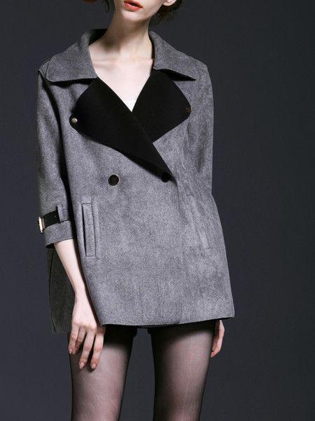 Grey Paneled Suede Short coat