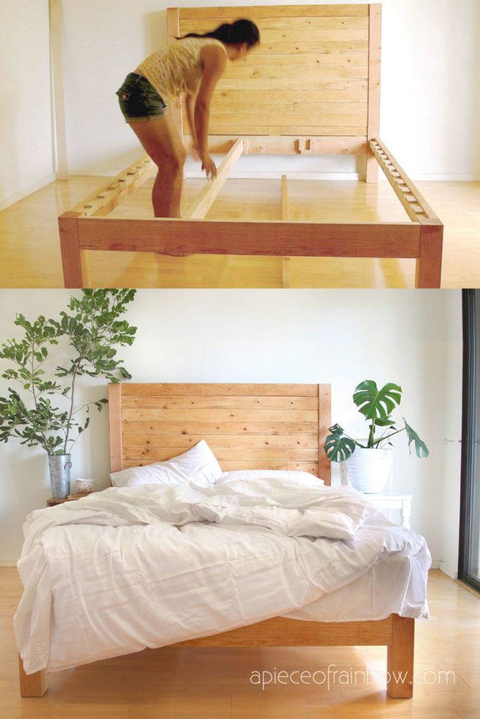How To Build Beautiful 100 Easy Diy Bed Frame Wood Headboard With Natural Finishes 1500 Look Best Tips In 2020 Simple Bed Frame Diy Bed Frame Diy Bed Frame Easy