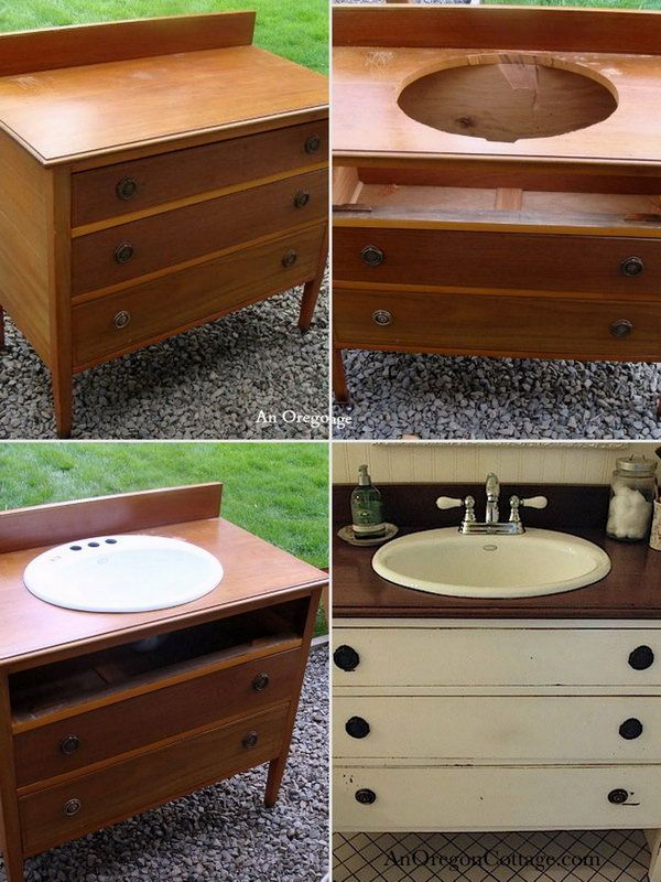 Repurpose an Old Dresser into a Bathroom Vanity .Ideas, Nature and Art More Pins Like This At FOSTERGINGER @ Pinterest