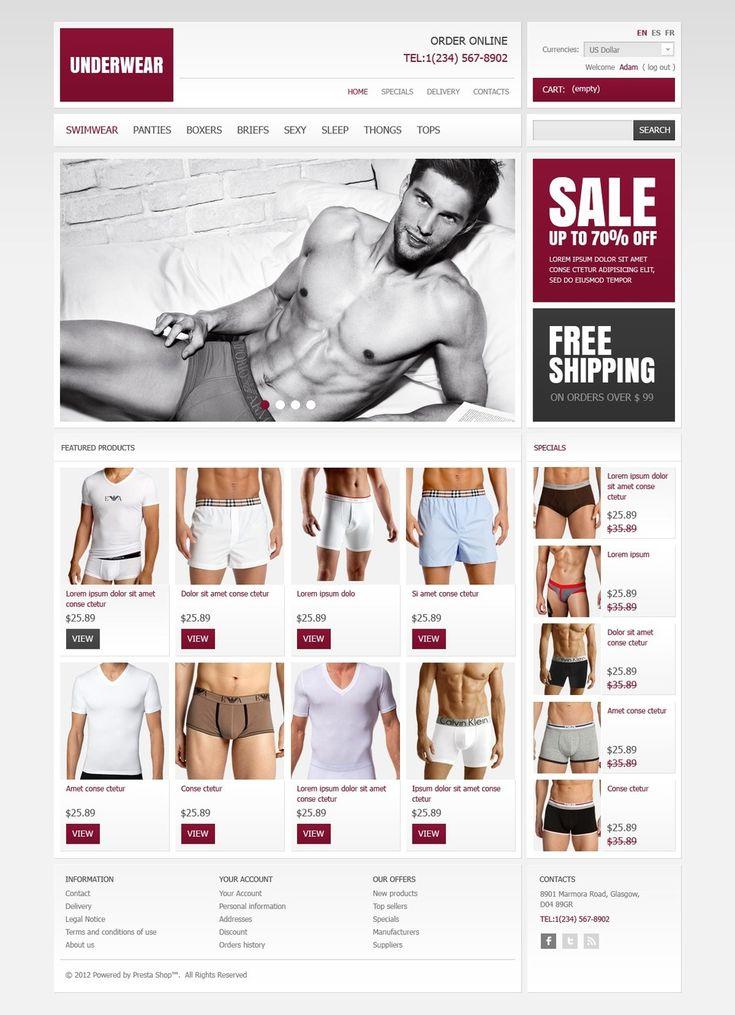 9+ Best Mens Underwear Store Ecommerce PrestaShop Themes - Underwear Store PrestaShop Theme