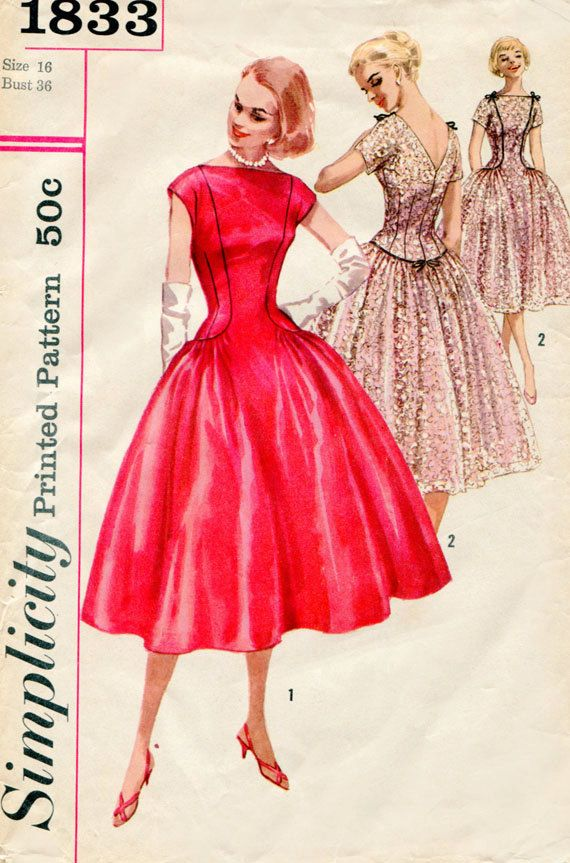 Red Full skirt party dress pink lace color illustration print ad Vintage Pattern Simplicity 1833 1950s Dress by FloradoraPresents, $45.00