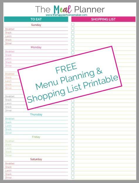 Meal Planner Printable | The Happier Homemaker | Bloglovin'