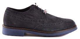Trussardi Men's Blue Suede Lace-up Shoes.