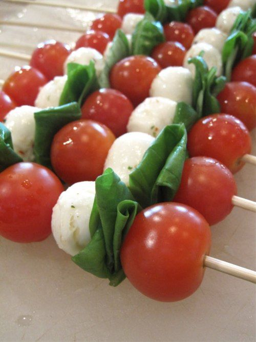 Going to a cookout this weekend but don't know what to bring? Try Caprese Kabobs - they're easy to make, super refreshing and only 45 calories a piece!