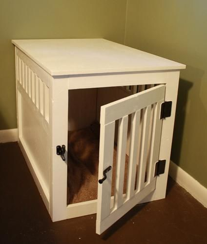 DIY: In need of a replacement for my hideous (but large!) wire kennel, I was ecstatic when Ana posted plans for an end table kennel, just like the fancy ones in Sky Mall magazines!