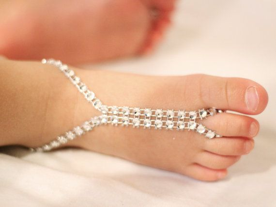 Rhinestones Silver Baby Barefoot Sandals Baby Foot by Kreacje