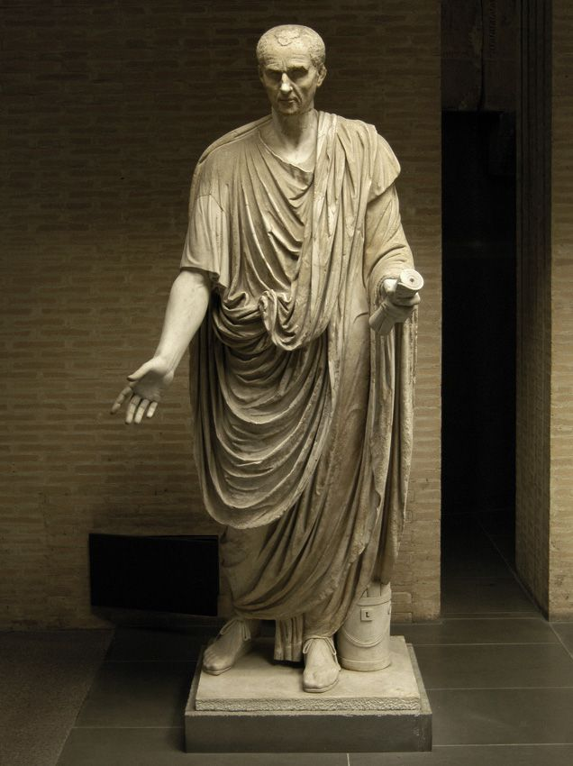 Possibly Gnaeus Domitius Ahenobarbus, Roman consul (year 32 BC), member of the Julio-Claudian dynasty, son of Antonia the Elder, great-nephew of Augustus, brother of Messalina, husband of Agrippina the Younger, father of Emperor Nero, Roman statue (marble), head and body do not belong, 1st century BC - 1st century AD, (Musei Vaticani, Vatican City).