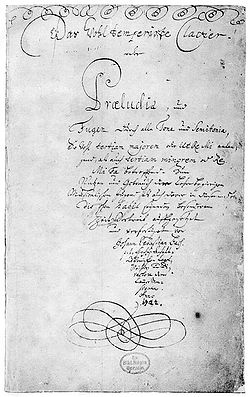 Title page - The Well-Tempered Clavier (German: Das Wohltemperierte Klavier),[1] BWV 846–893, is a collection of solo keyboard music composed by Johann Sebastian Bach. He first gave the title to a book of preludes and fugues in all 24 major and minor keys, dated 1722, composed for the profit and use of musical youth desirous of learning, and especially for the pastime of those already skilled in this study.