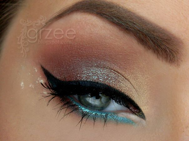 <3: Makeup Geek, Eye Makeup, Cat Eye, Eyeliner, Aqua Blue, Color, Dragon, Blue Eye, Eye Liner
