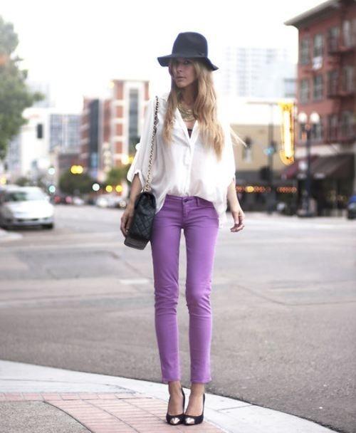 purple pants outfit