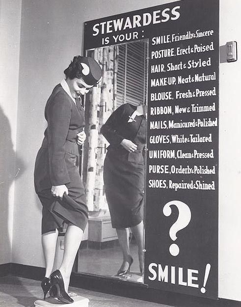 """""""Stewardess"""" grooming check. Cheyenne was the home to the first Stewardess school."""