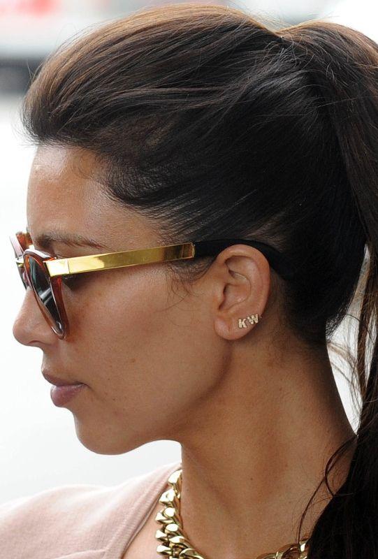 Sugar Bean Jewelry Single Initial Earring Stud in Gold as Seen On Kim Kardashian T