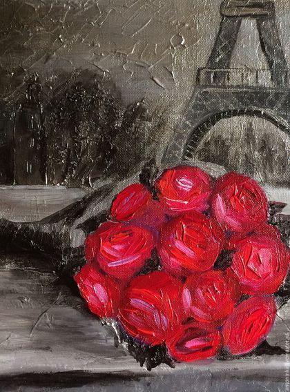 Купить или заказать Картина акрил 'Розы в Париже' в интернет-магазине на Ярмарке Мастеров. Картина 'Розы в Париже' выполнена в смешанной технике. Объемные мазки придают картине выразительность. Такая картина будет притягивать внимание гостей и станет ярким акцентом в интерьере.
