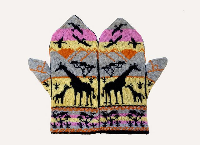 Ravelry: Giraffes at Sunset Mittens pattern by Erica Mount