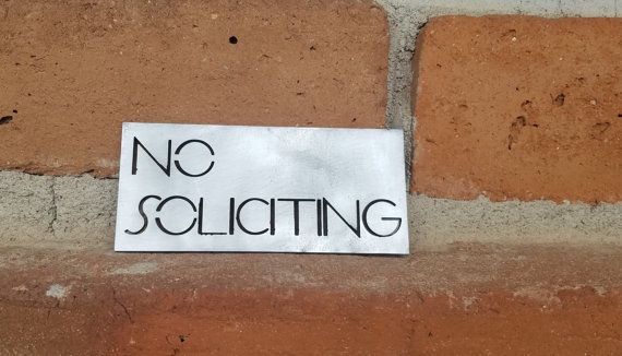 Small No Soliciting Sign Modern Sign No Soliciting MCM by RetroAZ