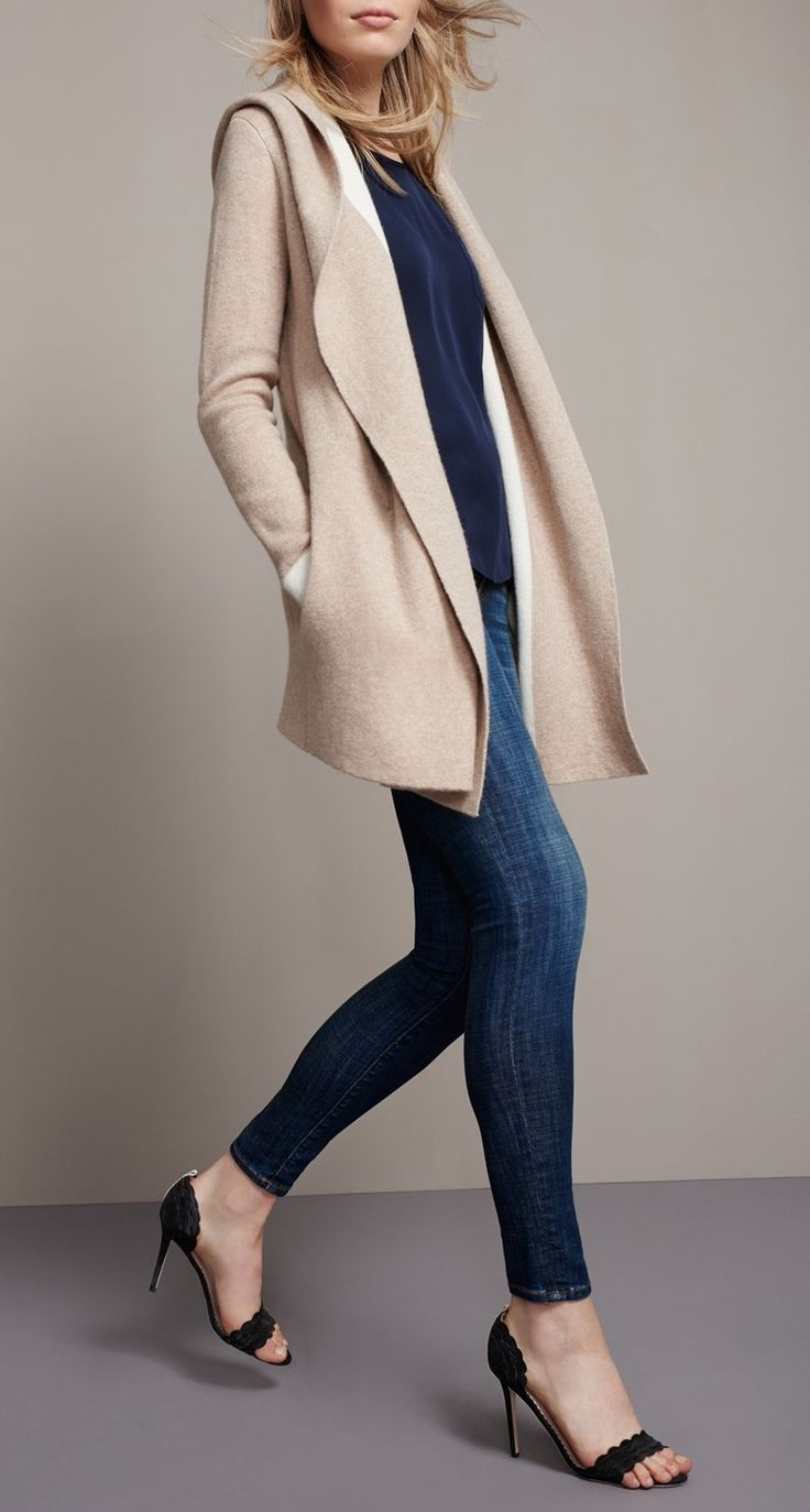 Effortless fall fashion look: Pair a chic camel topper with sandals, a t-shirt and jeans. Throw this oversized wool and cashmere sweater coat over your weekend look for an added layer of warmth.