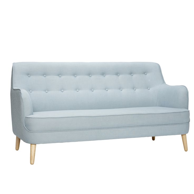 Light blue sofa with birchwood legs. Product number: 100106 - Designed by Hübsch