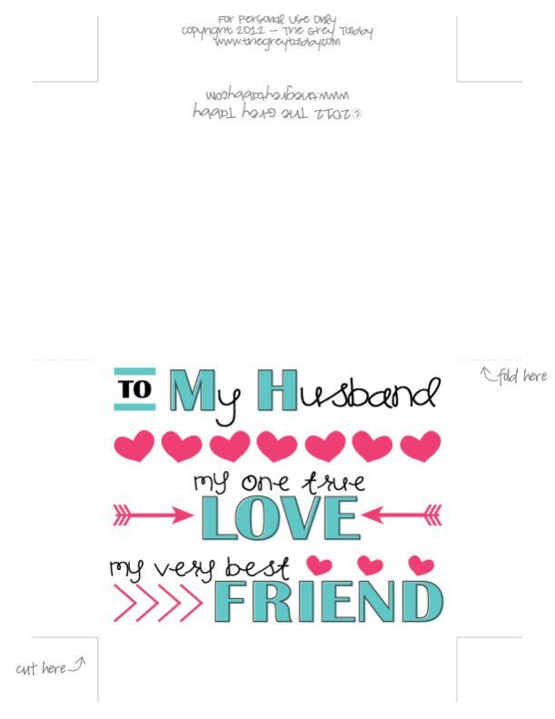Freebie Printable Card To My Husband A Love Note Card – Printable Anniversary Cards for Husband