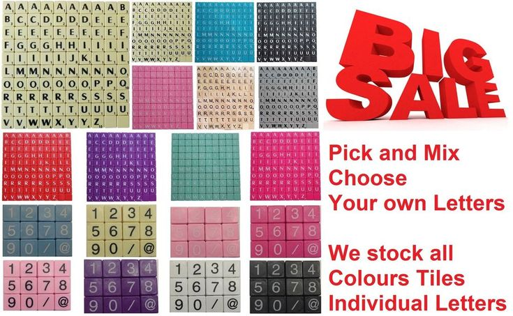 PLASTIC/WOODEN SCRABBLE LETTERS TILES black letters - PICK AND MIX FROM 3-1000