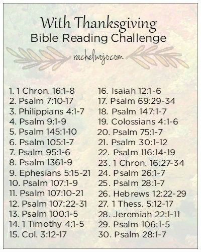 What if your one duty was to give thanks? Would you be able to do it? Join us this month for the With Thanksgiving Bible Reading Challenge!