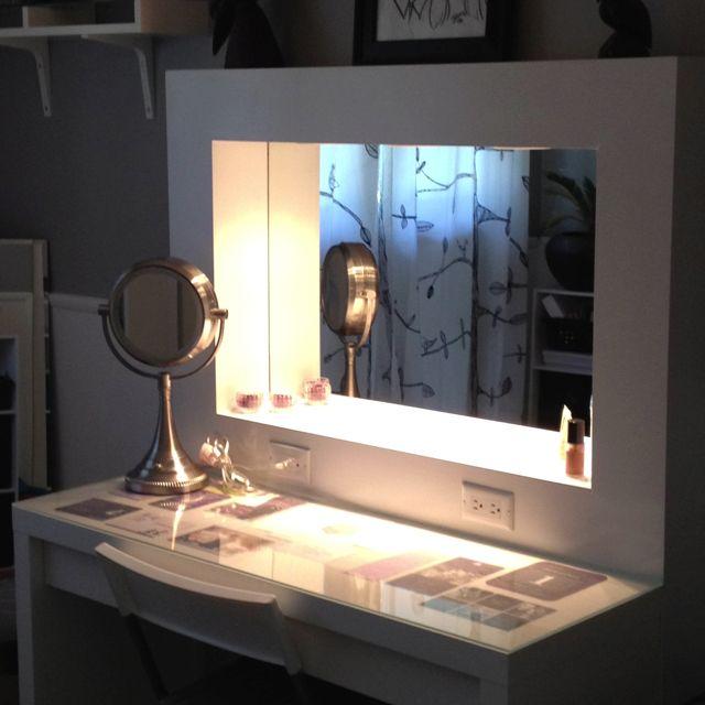 IKEA desk with a homemade vanity mirror   makeup storage in the desk. Best 25  Homemade vanity ideas on Pinterest   Homemade bathroom