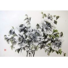 Japanese Ink Painting, Asian art, Sumi-e, Suibokuga,Rice Paper painting, Oriental art,Large 18x27', Black Peonies - pinned by pin4etsy.com