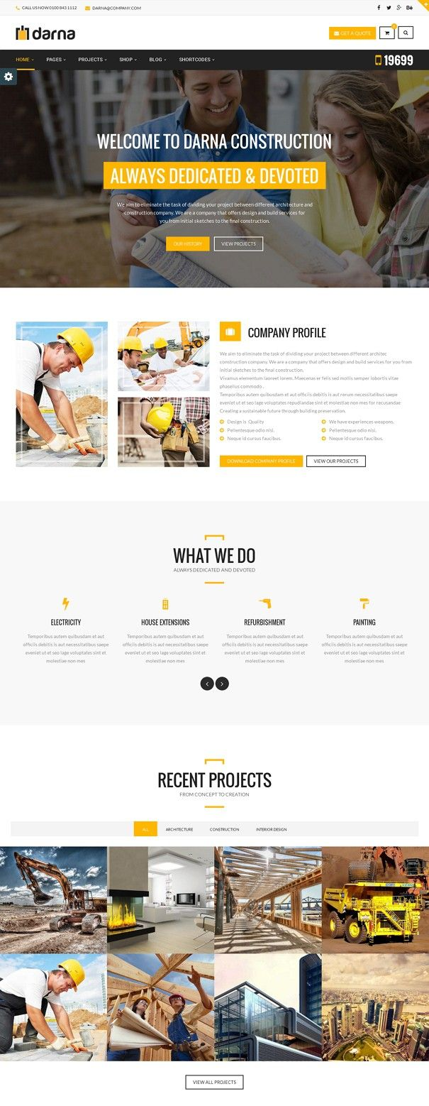 Darna business WordPress theme is designed specifically for #construction, and dedicated to the #corporate industries, building companies and those that offer building services. With clean fonts and awesome design of designers and developers have created a stunning theme. #website