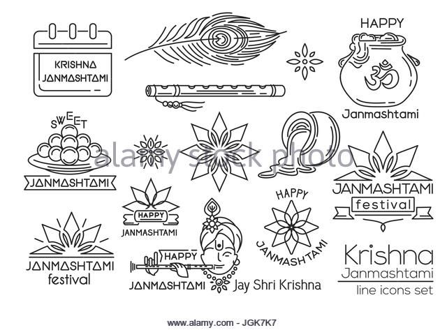 Krishna Janmashtami. Line icons set - Stock Image