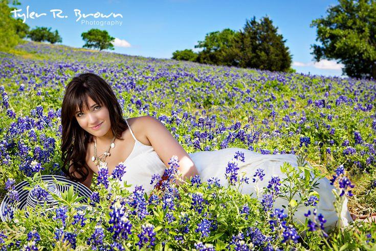 Hannah Britton - Mooresville High School - Class of 2012 - #seniorportraits - Indiana - Little Elm - Texas - Field of Bluebonnets - Blue Sky - Trees - White Dress - Tyler R. Brown Photography