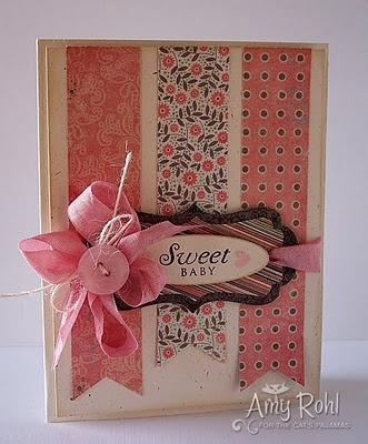 : Amy Rohl, Cute Cards, Sweet Cards, Cards Ideas, Baby Cards, Ribbons Cards, Paper Scrap, Sweet Baby, Cards Layout