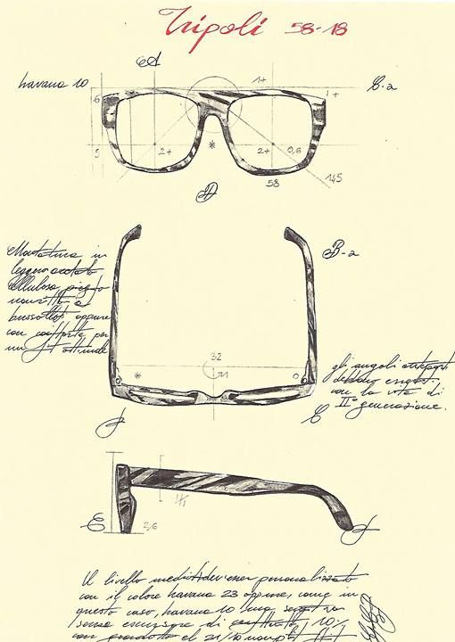 """L.G.R Curious to see how our designs look before our artisans bring them to life? Here is a sketch of the TRIPOLI frame before we sent it to production. This is one of the several steps that we take to make a spectacle which is handcrafted in every sense of the word. From the concept, the final design, to the actual frames, L.G.R maintains the authentic meaning of """"Handmade in Italy""""."""