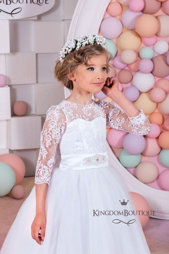 White Lace <b>Flower Girl Dress</b> - Wedding Holiday Party Bridesmaid ...